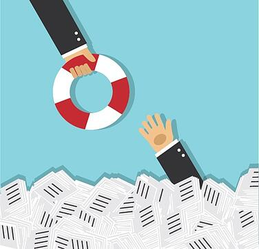 business person drowning in paperwork reaches out to hand holding life saver.